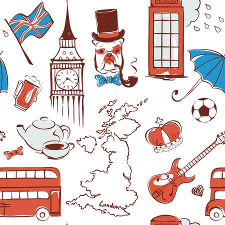 그림 영국, 그림의 상징으로 패턴 벡터 (일러스트)
