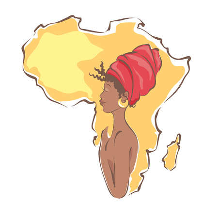 black woman: Beautiful black woman on the background of the continent Africa