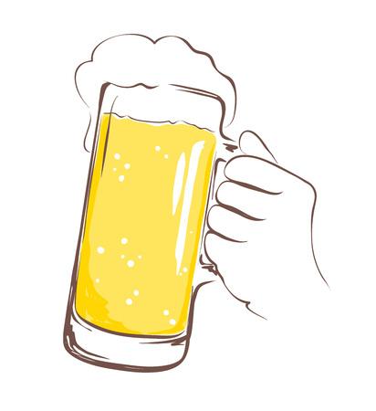 lager beer: illustration -- lager beer mug in hand Illustration