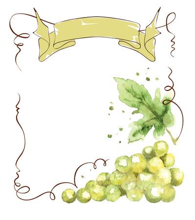 Wijnetiket met een tros druiven en lint, illustratie, waterverf