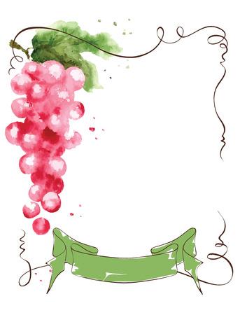 Wijnetiket met een bos van druiven en lint, illustratie, waterverf