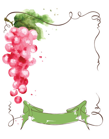 Wine label with a bunch of grapes and ribbon, illustration, watercolor Ilustração