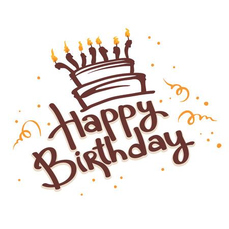 tortas de cumpleaños: Cake ans Feliz Cumpleaños Vectores