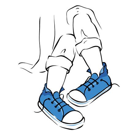funky: Legs in blue sneakers -- illustration