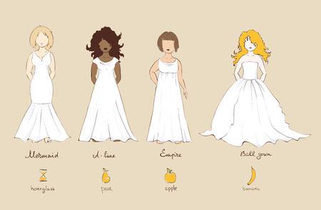 Robe de mariée et féminins types de figures, illustration.