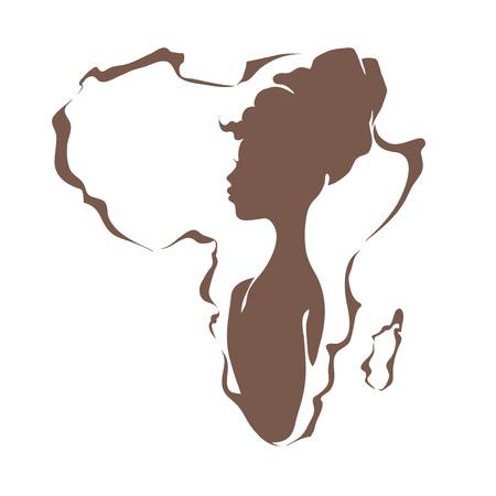 Schöne schwarze Frau auf dem Hintergrund des Kontinents Afrika Standard-Bild - 53977718