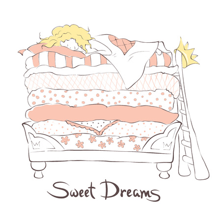 sweetly: Girl sleeping sweetly on the bed Princess and the Pea, illustration
