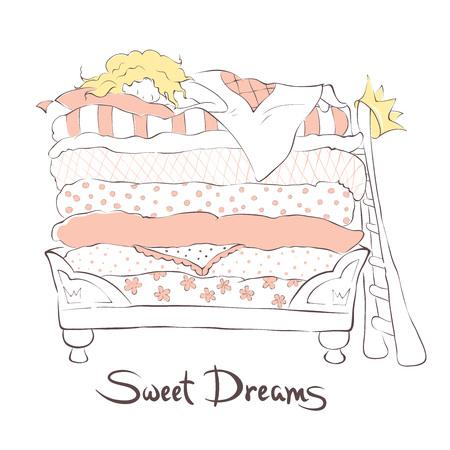 Mädchen schläft süß auf dem Bett Prinzessin auf der Erbse, Illustration Vektorgrafik