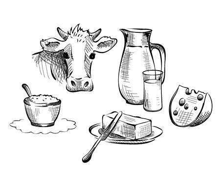 glass jar: Set vector illustrations -- foods, dairy produce, farm products Illustration