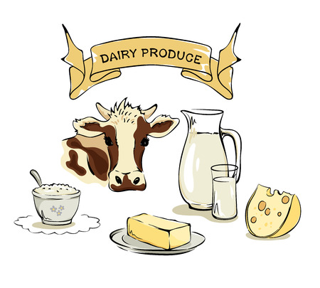 butter: Set vector illustrations -- dairy and farm products