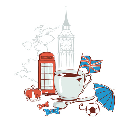 english tea: Funny vector illustration with symbols of United Kingdom -- English tea Illustration