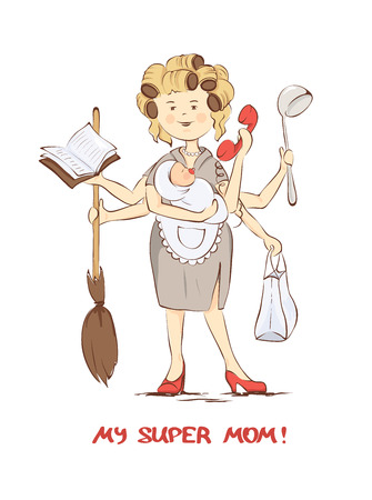 Super mom -- card for Mothers Day, illustration