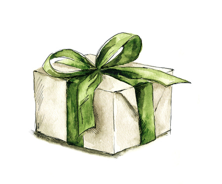 Watercolor painting - illustration with gift box Stock Photo