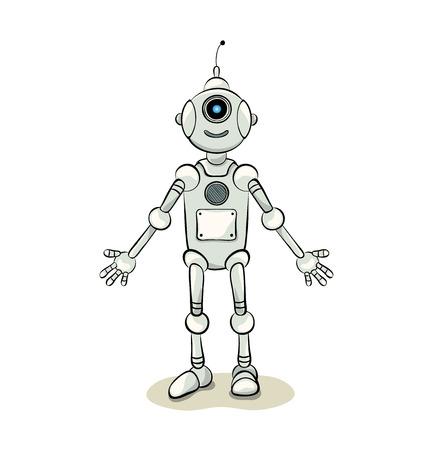 Smiling natured robot assistant, illustration Vektoros illusztráció
