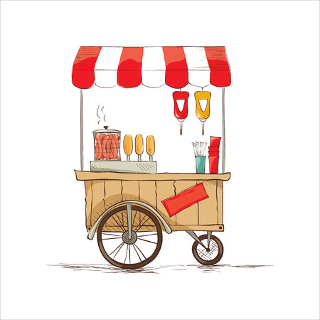 cart: Hot dogs on wheels.