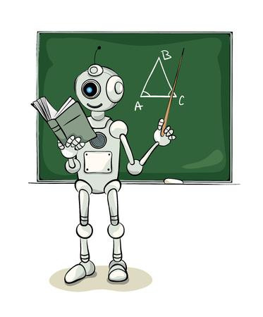Smiling natured robot teacher, illustration
