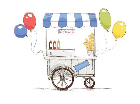 carretto gelati: gelato su ruote. Vettoriali