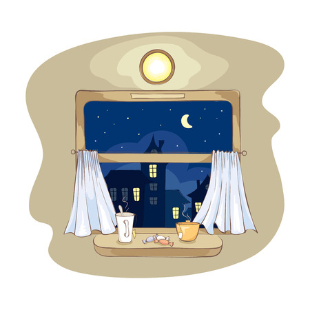 window view: Night tea party on the train. illustration of a view from the window of a passenger train.