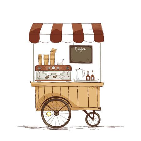 Caffetteria su ruote. illustrazione sul tema del cibo di strada.