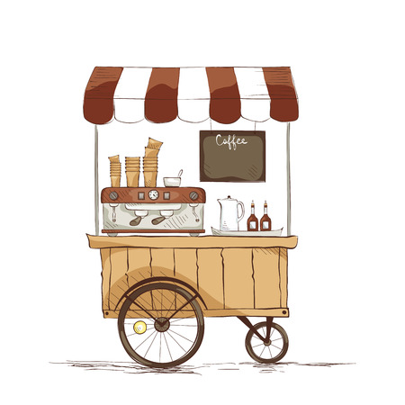 cart: Coffee house on wheels. illustration on the theme of street food.