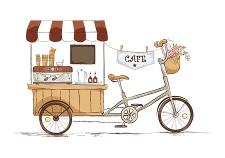 Coffee house on bicycle./ illustration on the theme of street food.