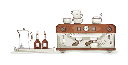 eatery: Equipment and dishes for coffee, illustration Illustration
