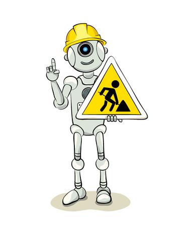 road work: Under constructionRobot with a warning sign (road work), illustration