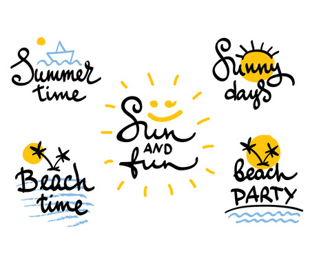 6dbabcdd33ba Funny summer hand drawing calligraphy Set of summer and travels vector  images Stock Vector -