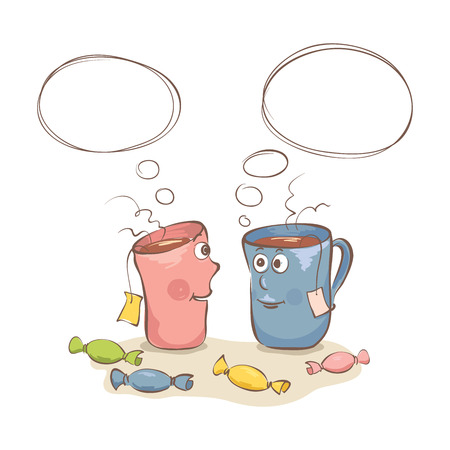 Talk over a cup of tea/Funny vector illustration of conversing with two cups