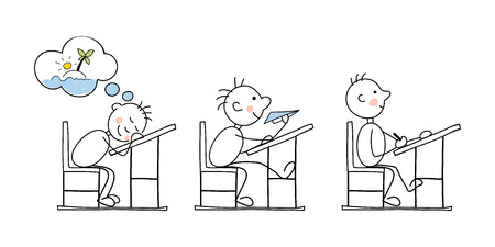 weary: Funny vector illustration -- students in the classroom