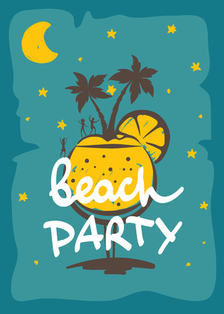 beach party: Party on the beach Funny abstract background Illustration