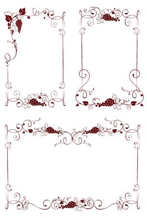 wine grape: Vintage design elements -- frames for wine