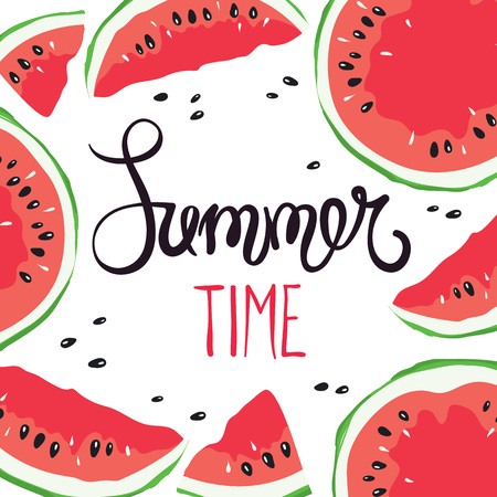 Funny summer hand drawing calligraphy/ Vector background with slices of watermelon