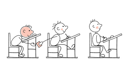 adolescence: Stiff examinationFunny vector illustration -- students in the exam