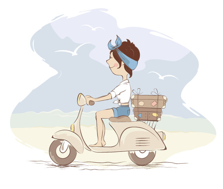 Girl on scooter rides along the beach/Young woman traveling by scooter, vector illustration