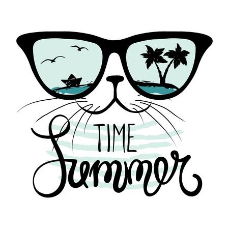 gato dibujo: Gato en gafas de sol  divertido de la mano del verano dibujo caligrafía, ilustración vectorial