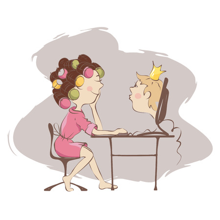 internet dating: Dreams of a prince on the Internet A woman wants to meet with the prince on a dating site Illustration