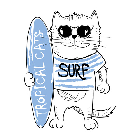 b47ea24630ba Cat surferVector illustration on the theme of active beach holiday  Illustration