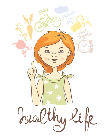 regime: Healthy lifestyleGirl with red hair likes a healthy life Illustration
