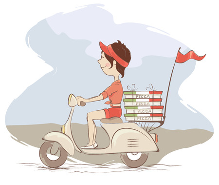 delivers: Pizza deliveryGirl delivers a pizza on a retro scooter