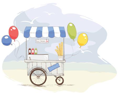 carretto gelati: Gelateria sulla spiaggia Illustrazione  vettoriale sul tema del cibo di strada Vettoriali