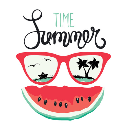 Summer on the beachWatermelon smiling in sunglasses Illustration