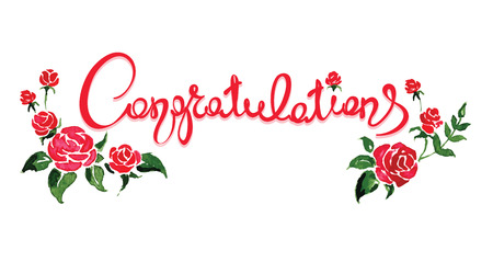 congratulations word: Congratulations with flowersHandwritten calligraphy, banner, title Illustration