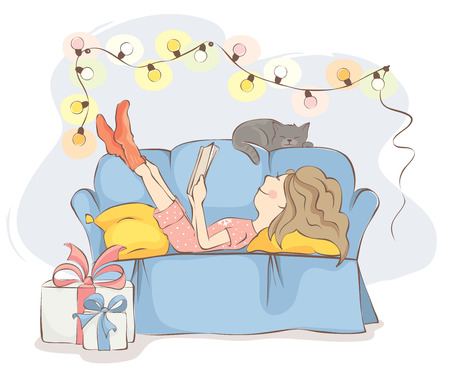 woman couch: Christmas HolidaysYoung woman or girl is lying on the sofa reading a book, near cat sleeps. All wait the holiday. Illustration