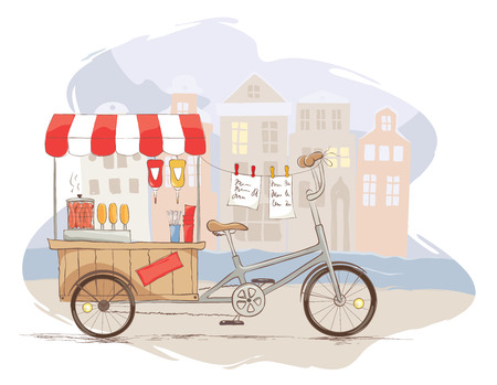 food industry: Hot dogs on bicycle Vector illustration, street food in the old city