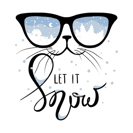 Cat in the glasses in which winter is reflectedFunny christmas drawing calligraphy let it snow