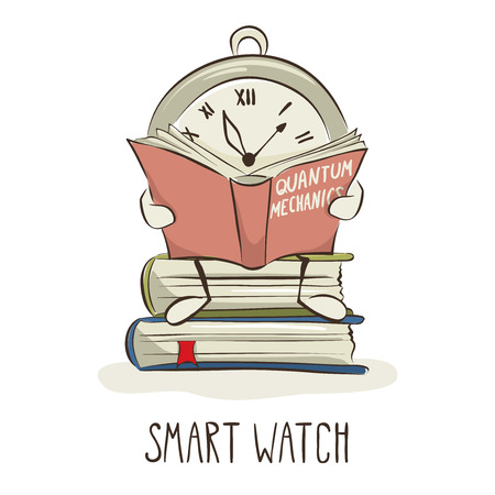 personal assistant: Smart watches are learningFunny illustration on the theme of new technologies in education Illustration