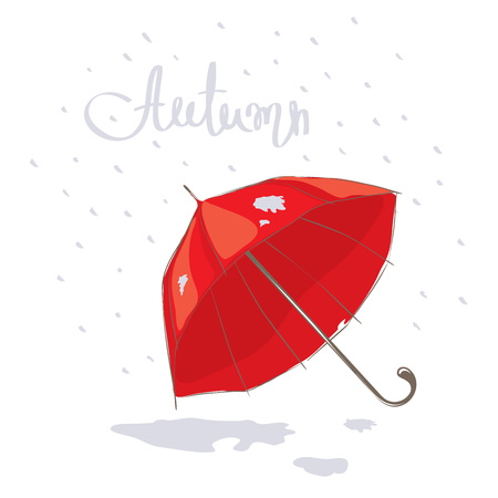 drizzle: Red umbrella  Vector illustration on the theme of autumn Illustration
