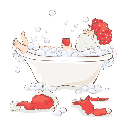 Santa after work  Grandfather relaxing in a bath with a cup of hot drink Illustration