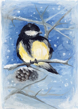 tomtit: Tomtit on the branch  Winter or christmas watercolor illustration
